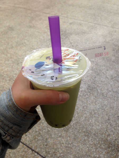 Bubble tea au thé matcha - Japan center #1 (je n'ai pas le nom de la boutique non plus...)