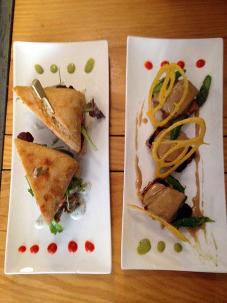 A gauche : burger d'agneau, pête tomate aux aubergines, crème de yaourt aux herbes A droite : petits pavés de veau Aveyronnais, crème d'Ossau Iraty et pudding à la Basquaise