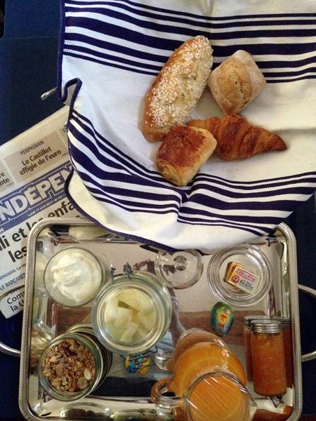petit déjeuner maison d'hôtes le bateau ivre Collioure