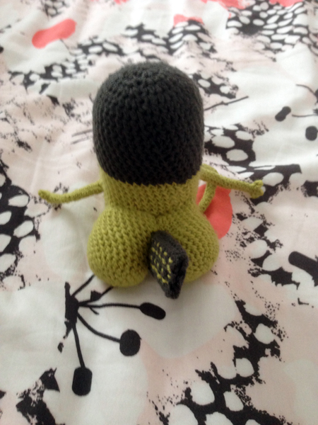 vue de dos du second prototype de threatbutt au crochet