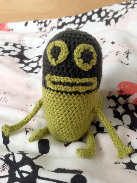 vue de face du second prototype de threatbutt au crochet