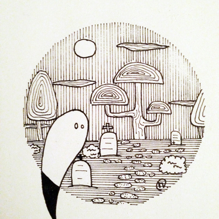 dessin Inktober 2019 fantôme cimetière