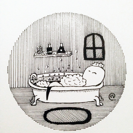 dessin Inktober 2019 fantôme bain
