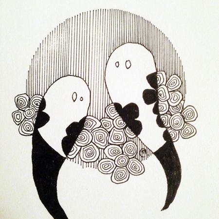 dessin Inktober 2019 fantômes fleurs